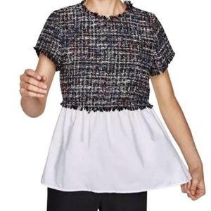 ZARA Tweed Peplum Shirt Blouse